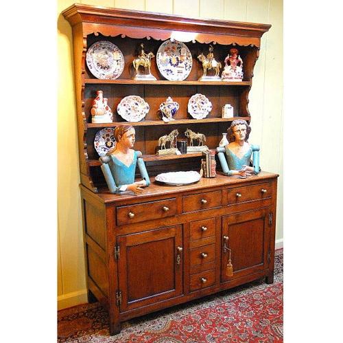 Welsh Georgian Oak Two Part Full dresser - Antique Cabinets - The Farm Antiques, Wells Maine