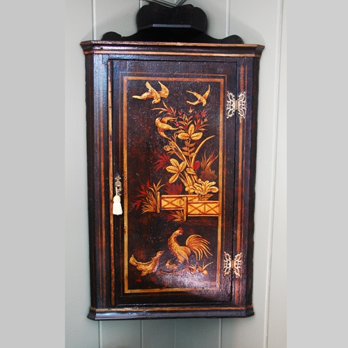 English Georgian Lacquered Decorated Hanging Corner Cupboard - Antique Cabinets - The Farm Antiques, Wells Maine