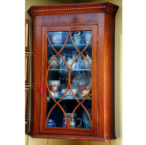 English Georgian Hepplewhite Hanging Corner Cupboard - Antique Cabinets - The Farm Antiques, Wells Maine