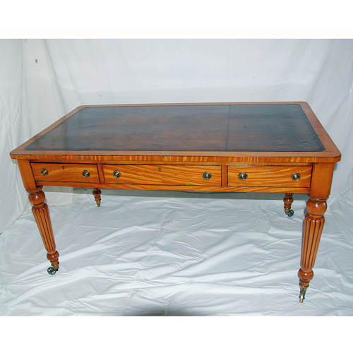 English William IV Satinwood Writing Table - Antique Desks - The Farm Antiques, Wells Maine