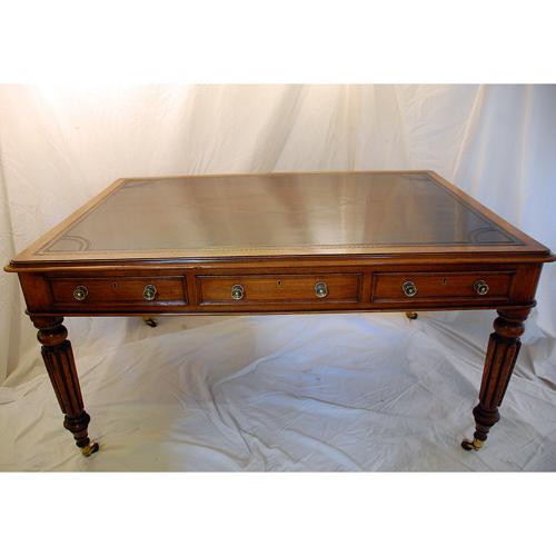 Antique Desks. English Oak Partners Writing Table - Antique Desks - The Farm Antiques, Wells Maine